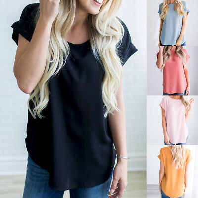 Fashion Women short Sleeve Loose Blouse Casual Shirt Summer Chiffon Tops T-Shirt