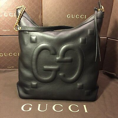 8adbcecd3 GUCCI BLACK LEATHER GG Embossed Shoulder Bag NEW 453561 - $1,578.99 ...
