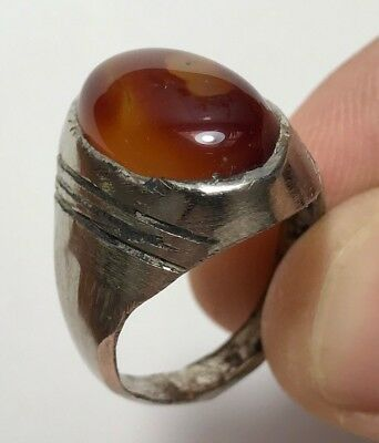 MEDIEVAL SILVER RING WITH CARNELIAN RARE STONE  9.8gr 24mm (inner 22mm)