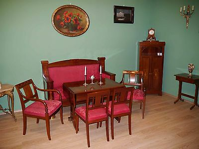 Biedermeier Empire Salon in Mahagoni -Sofa,Stühle,Tisch,Nähtisch&Pfeilerschrank
