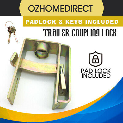 Trailer Hitch Lock Coupling Caravan Camping Anti Theft Heavy Duty With Padlock