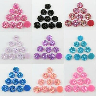 10pcs DIY Resin Druzy Cabochon 12mm Round Flat Back Earrings etc Select Colour