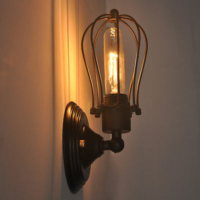 Art Deco Wall Lamp Vintage Industrial Bird Cage Wall Light Antique Black Sconce