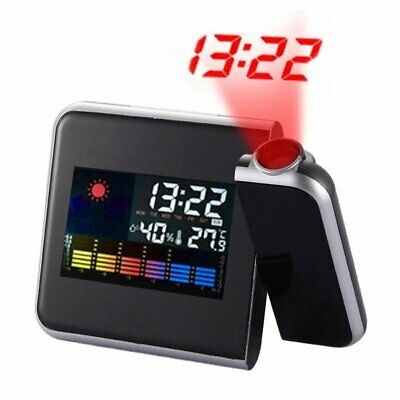 Projection Digital Weather Snooze Alarm Clock Color Display w/ LED Backlight USA