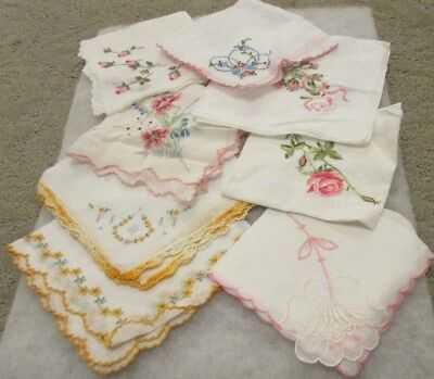 Vintage Lot Of Ladies Handkerchiefs Hankies (Floral)