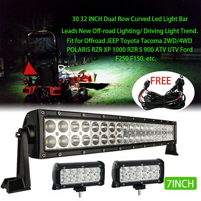 Curved 32Inch LED Work Light Bar Spot Flood Combo with 2pcs 7inch CREE Pods 30in