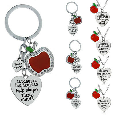 Charm Red Apple Teacher Gift Necklace Pendant Keyring Jewelry Teaching Assistant