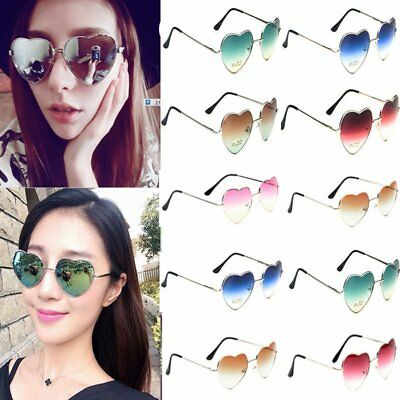 Vintage Metal Frame Ladies Love Heart Shape UV400 Sunglasses Eyewear Eye Glasses