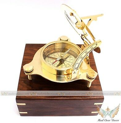 "Antique Maritime Solid Brass Vintage Nautical 4"" Sundial Compass With Wooden Box"