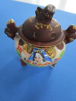 Japanese Satsuma Shi Shi Foo Dog Three Legged  Small Ceramic Censer