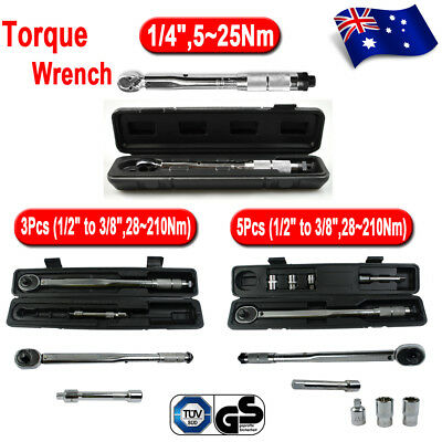 """(1/4"""",5~25Nm) 1/2""""-3/8"""" Drive Torque Wrench Click Torq Ratchet Hand Tool +Case"""