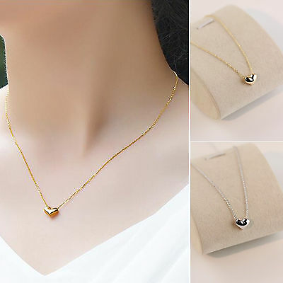 18k Silver Gold Titanium Steel Heart Necklace Pendant for Women Gift Jewelry New