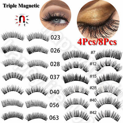 Triple Magnetic Eyelashes 3D Handmade Reusable False No-glue Magnet Eye Lashes