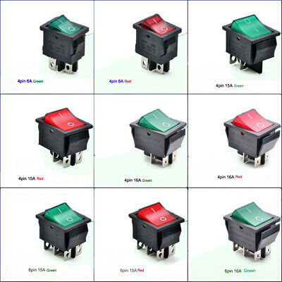 Illuminated Rectangle On-Off Rocker Switch 250V DPST - Red Green Various sizes