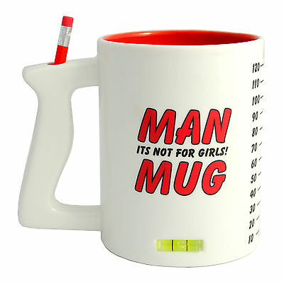 Man Mug giant huge sized coffee tea cup for men with pencil spirit level & ruler