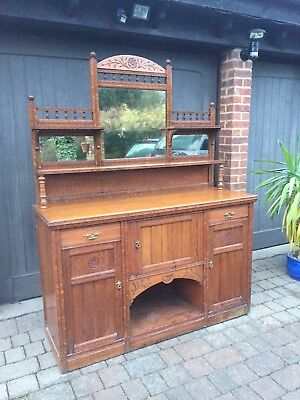 Antique Vintage Oak Cabinet With Mirrors (Great Condition)