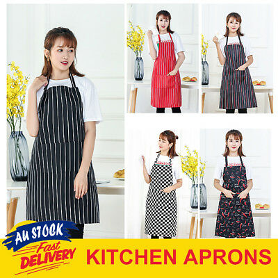 Apron Waiter Chef Kitchen Cooking Striped Washable Pocket Black White Red Bib