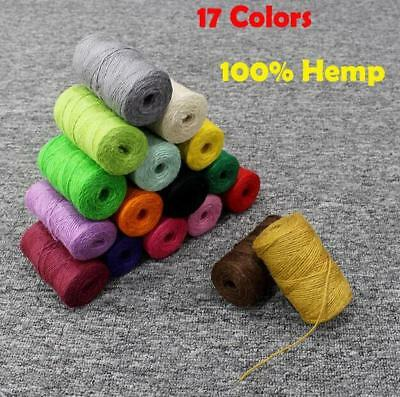 17color Hemp 100% Twine Rustic String Natural Cotton Rope Macrame Linen Cord Jut