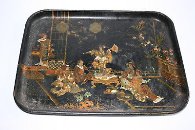 Antique 19th Century Japanese Wooden Carved Lacquer and Gilt Painted Plate Tray