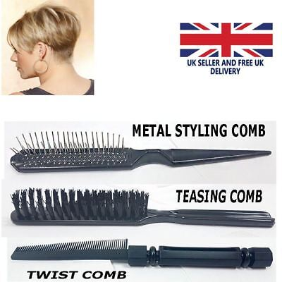 Professional UNTANGLE Twist Teasing Metal Styling Comb Black Metal Smooth New