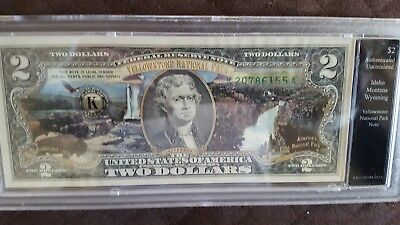 Yellowstone National Park Note Colorized Enhanced $2 Bill