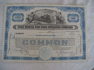 Lot of Four Gulf, Mobile and Ohio Railroad Cancelled Stock from the 60's & 70's