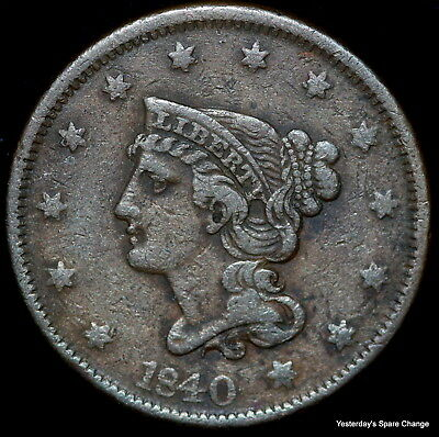 1840 Nice Grade Braided Hair Large Cent!!