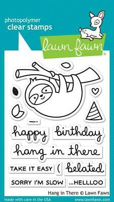 """Stempel """"Hang in There"""" Lawn Fawn, Clear Stamps, Faultier am Ast, Partyhut"""