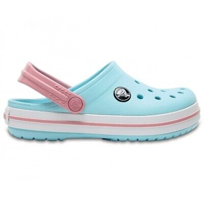 Crocs 204537 CROCBAND CLOG Kids Unisex Boys Girls Summer Beach Clogs Blue/White
