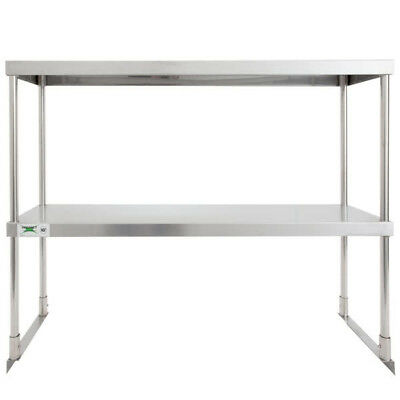 """Stainless 12"""" x 36"""" Steel Work Prep Table Commercial Double Deck Overshelf Shelf"""