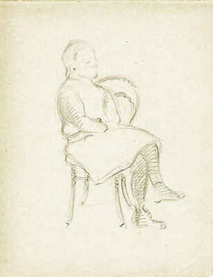 Page  from the school album of RUSSIAN ARTIST M.A.Markov Woman on the chair