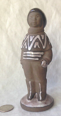 HYLLESTED KERAMIK Figurine Young Inuit Boy DENMARK, Scandinavian 6.5""
