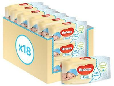 18 Packs X Huggies Pure Baby Wipes (1008 Wipes Total) - Pure Unscented Wipes