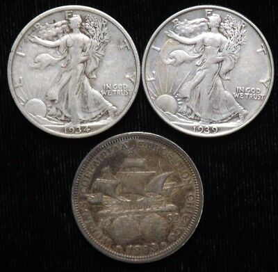 Lot of 3 Different VF - XF Pre 1940 Silver Half Dollars