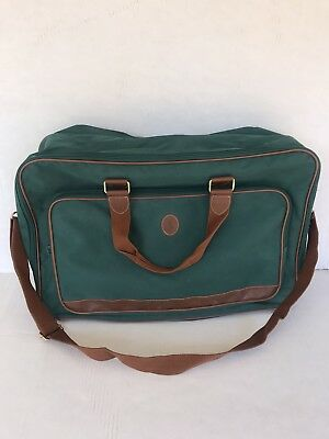 179107a37d Vintage Ralph Lauren Luggage Bag Soft Green Suitcase Brown Leather Trim Polo  Log
