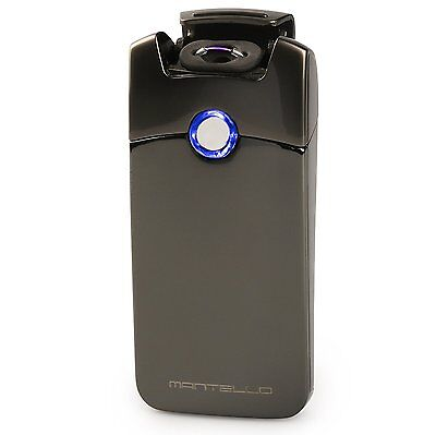 Electric Arc Flameless Windproof USB Rechargeable Plasma Lighter Metal Black