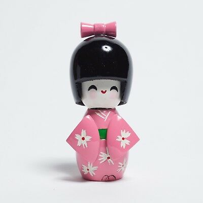 Cute Pink Japanese Kokeshi Wooden Doll Girl 3 1/2 Inches 9 cm Very Adorable!!