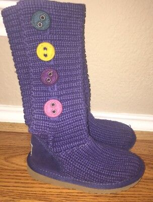 Girls Uggs Cardi Purple Knit Calf High Boots Youth Size 11