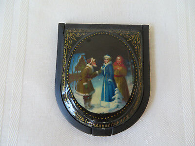 Russian Vintage Black Lacquer box Palekh Hand Painted With Mirror Inside