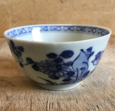 Antique c18th Chinese Qialong Porcelain Tea Bowl  Blue and White Qing Dynasty