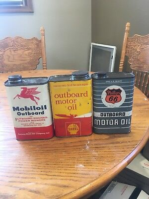 Vintage Phillips, Mobil, Shell Outboard Oil Cans