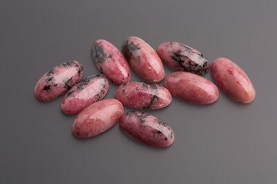 Rhodonite Cabochon 16 x 8 mm Oval Pink-Black/Box