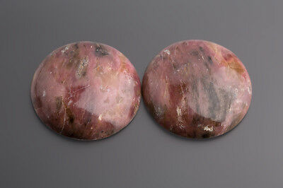 Rhodonite Cabochon Round 32 mm Pink-Black/Box