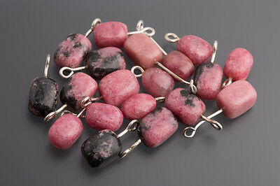 Rhodonite Baroque with Pencil 10 - 12 mm Pink-Black/Box