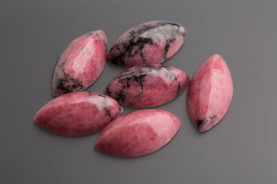 Rhodonite Cabochon Spitzeck 27 X 14,5 mm Pink-Black/Box