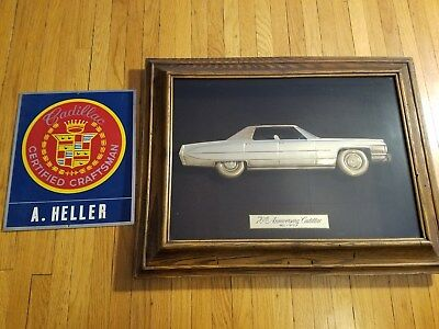 70th Anniversary Cadillac Dealership Showroom Display and Orig Shop Name Sign