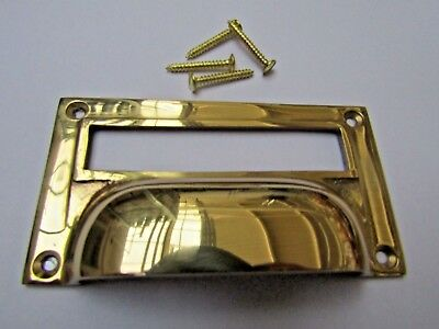 SOLID BRASS VICTORIAN cupboard filing cabinet card label holder cup pull handle