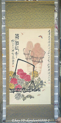 Chinese hanging draw Hand-painted chrysanthemum calligraphy scroll painting