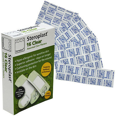 Steroplast 16 Assorted Clear Transparent Water Resistant Adhesive Plaster Pack