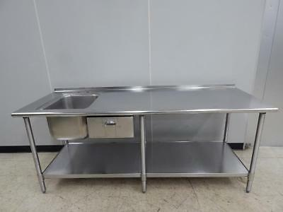 """S/S Worktable with Sink and Drawer, 84"""" wide"""